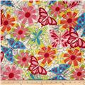 Newcastle Abstract Flowers & Butterflies White/Multi