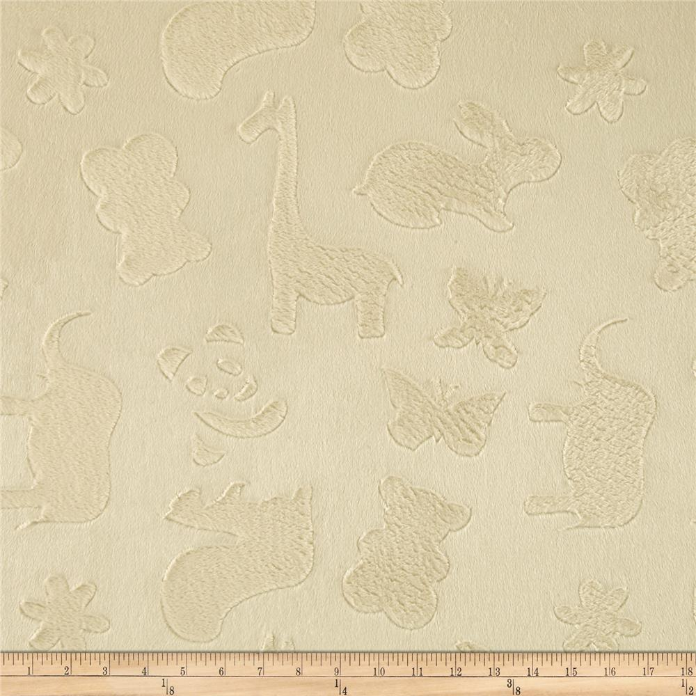 Minky Embossed Animal Crackers Cream
