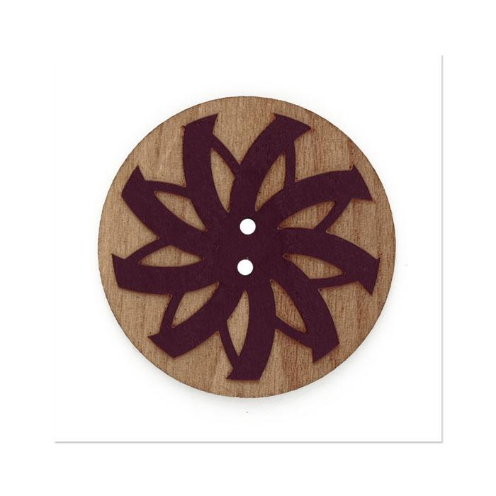 Organic Elements Wood Button 1 1/2'' Raisin