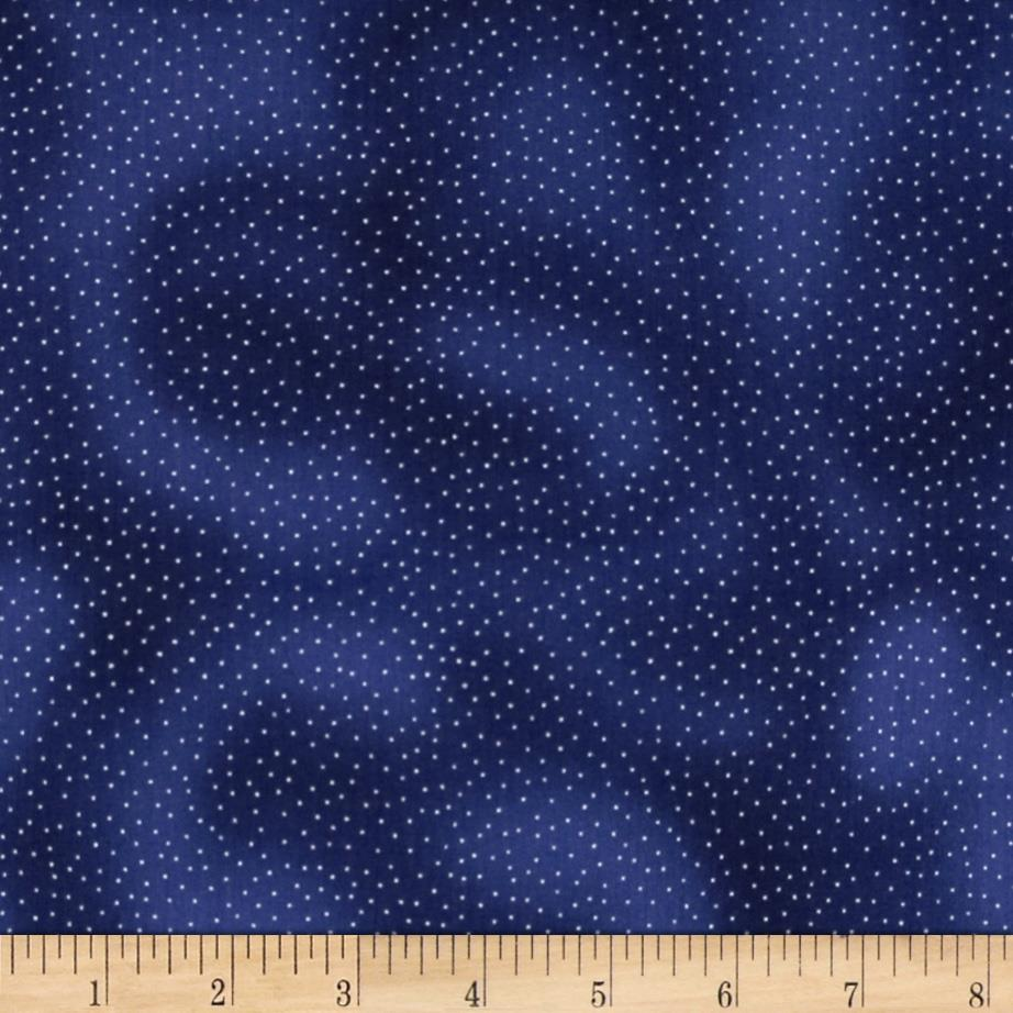 Midnight Plume Metallic Dots Navy