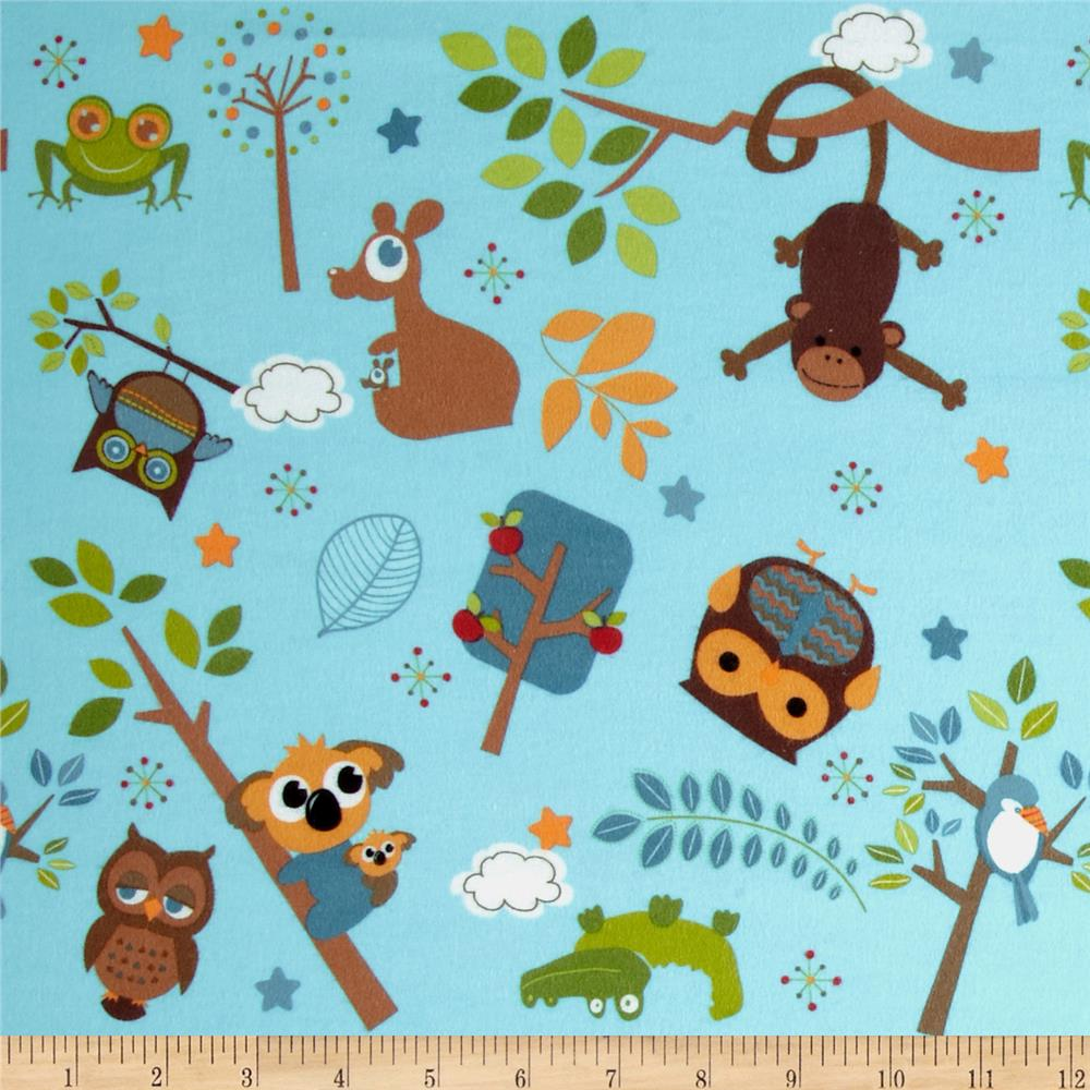 Riley Blake Hooty Hoot Returns Flannel Tossed Animals Blue