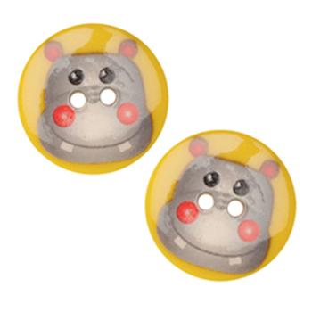 Novelty Button 1&#39;&#39; Critter Hippo Multi