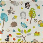 239605 Riley Blake Life In The Jungle Flannel Tossed Animal Friends Light Grey