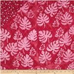 Double Sided Quilted Indian Batik Leaf and Dots Red/Pink
