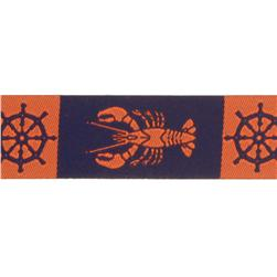 7/8'' Ribbon Lobster Nautical Orange/Navy