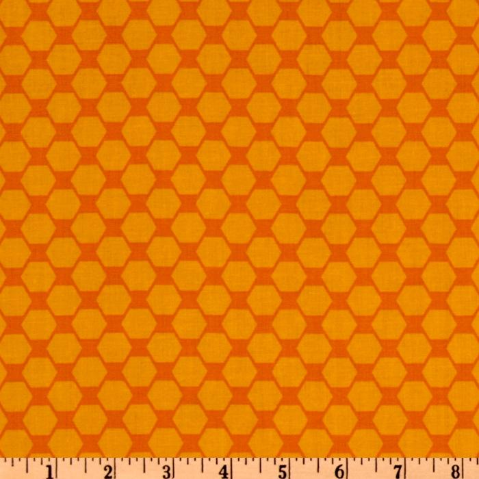 Timeless Treasures Mechanical Genius Hexagon Orange