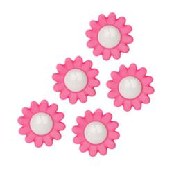 Novelty Button 3/4'' Daisies Hot Pink