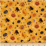 Halloween Masquerade Pumpkins & Moons Gold