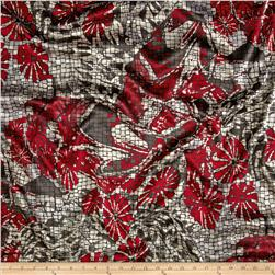 Charmeuse Satin Abstract Floral Red/Grey