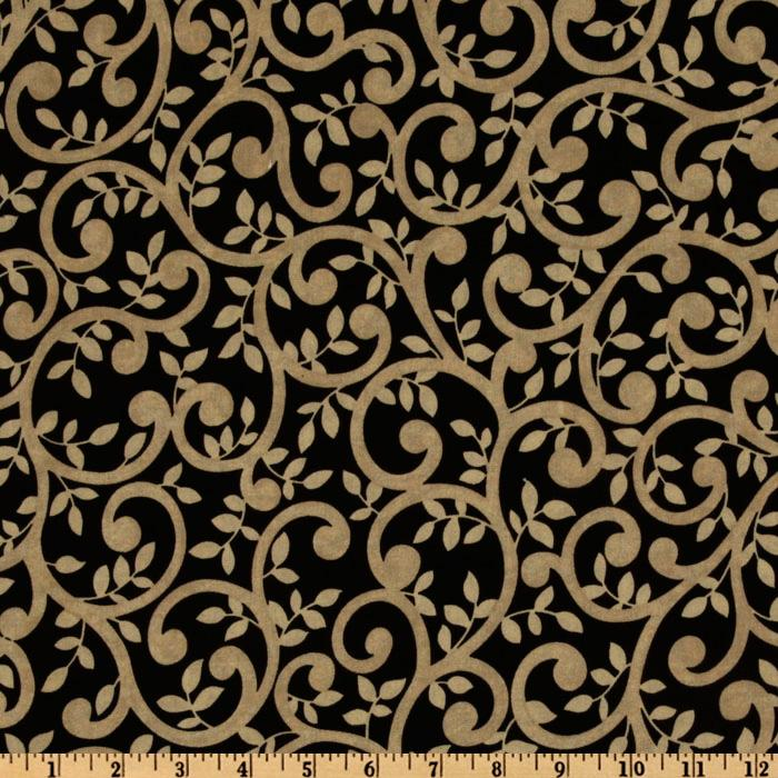 "Normandy Court 108"" Quilt Backing Scrolling Vines Taupe/Black"