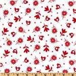 239654 Bonny Bloom Flannel Small Flower White/Red