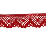 "NR-4927 Riley Blake Sew Together 1 1/4"" Crocheted Lace Trim Red"