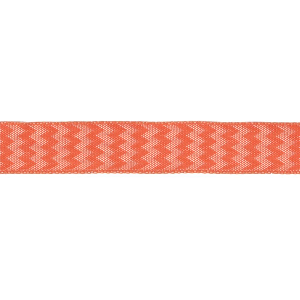 "5/8"" Chevron Stripe Wired Ribbon Orange"
