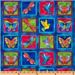 Laurel Burch Flying Colors II Squares Blue