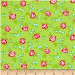 0281946 Tanya Whelan Sugar Hill Flannel Scattered Roses Green