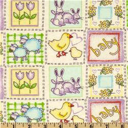 Flannel Ducks & Rabbits White/Multi