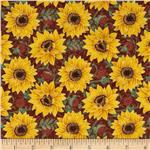 0292237 Tuscan Sunflowers Metallic Sunflower Brown