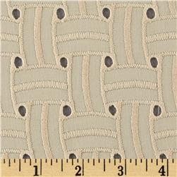 Basket Weave Cotton Eyelet Natural