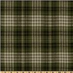 0277496 Yarn Dyed Flannel Plaid Olive/Cream
