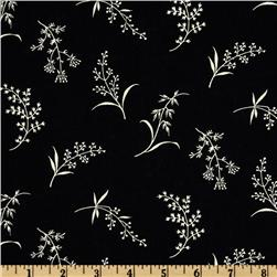 Timeless Treasures Bird Song Tossed Floral Black/Cream