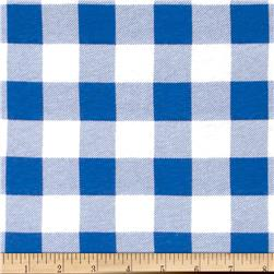 Cotton Jersey Knit Plaid Blue