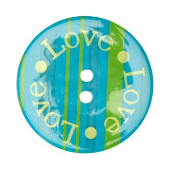 Novelty Button 1-3/8'' Love Love Love Blue