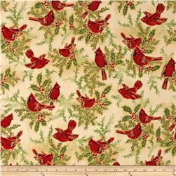 Holiday Flourish 6 Cardinals & Holly Metallic Holiday Natural