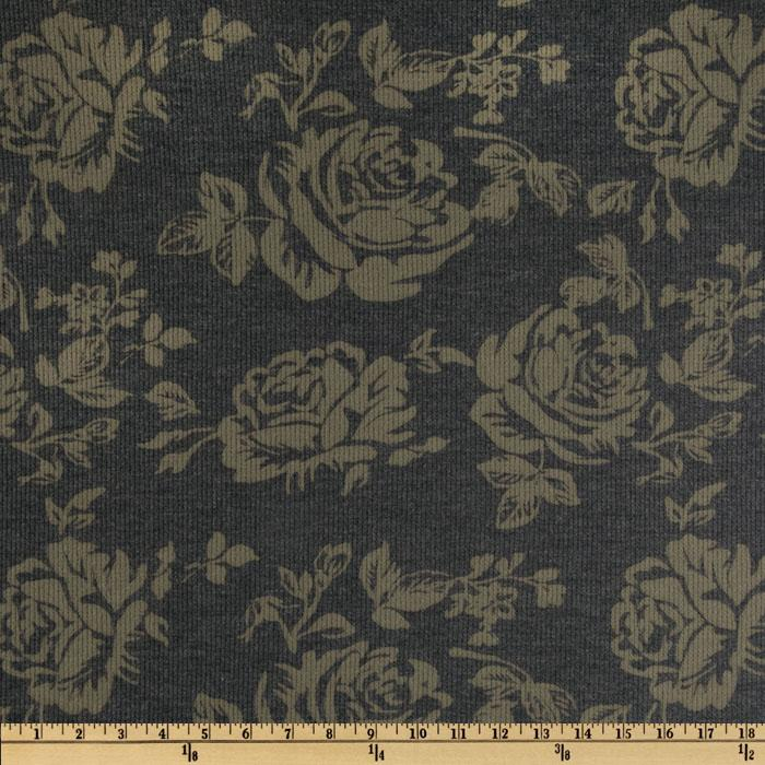 Cotton Blend Thermal Knit Roses Navy