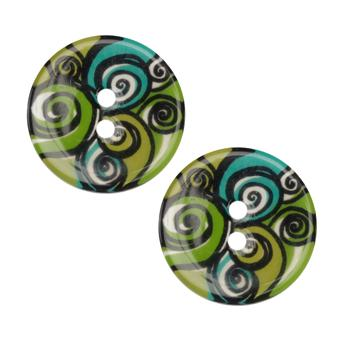 Novelty Button 1&#39;&#39; Swirls Green