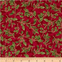 Ribbons & Holly Holly Sprigs Metallic Scarlet