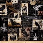 228313 Michael Miller Nevermore Collection Nevermore Collage Urban Grit White