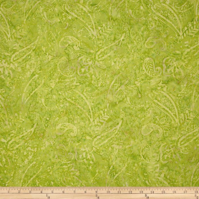 Tonga Batik Lemon Poppy Foliage Lime