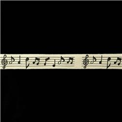 "3/4"" Woven Ribbon Music Notes Ivory"