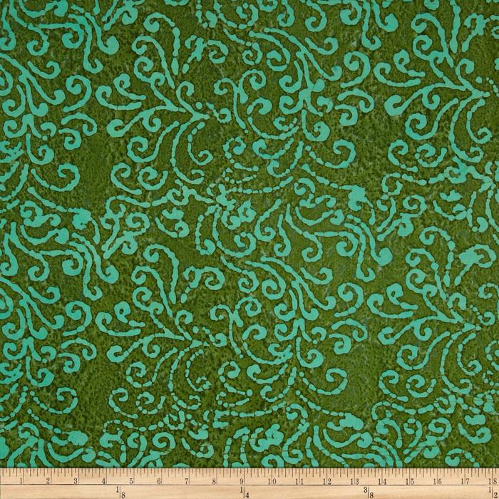 Indian Batik Squiggle Aqua/Green