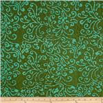 0269779 Indian Batik Squiggle Aqua/Green