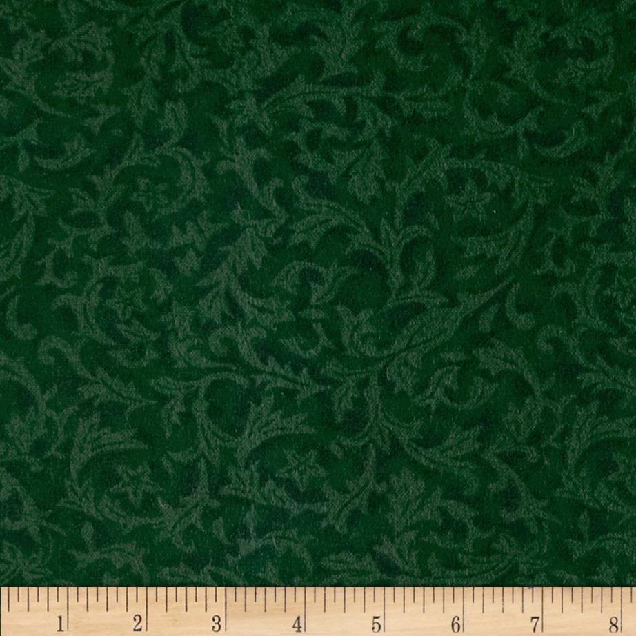 "110"" Wide Flannel Quilt Backing Leaf Emerald"