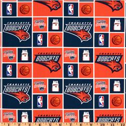 NBA Cotton Broadcloth Charlotte Bobcats Orange/Blue