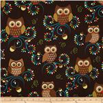 0301244 Michael Miller Norwegian Woods Happy Hooters Owls Forest Brown
