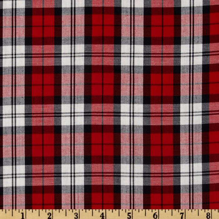 Kaufman House of Wales Plaid Shirting Red/Ivory