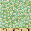 Rayon Shirting Calico Flowers Turquoise