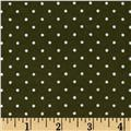 Aunt Polly's Flannel Mini Polka Dot Green/White