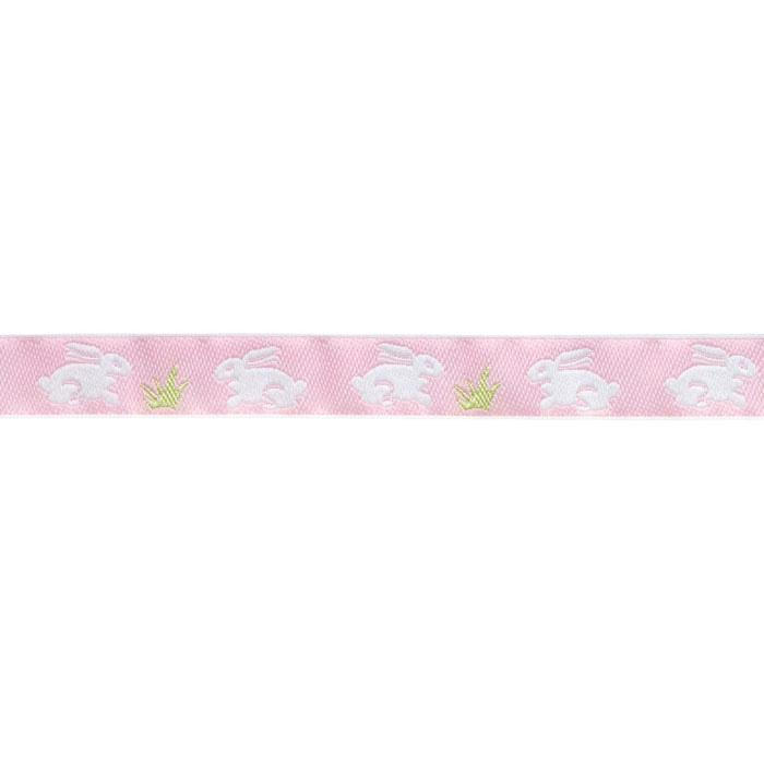 5/8&#39;&#39; Ribbon Bunnies White/Pink