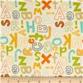 Jungle Land Flannel Tossed Letters Ivory/Multi
