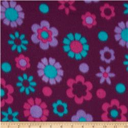 Printed Fleece Floral Burgundy
