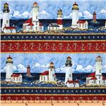 Timeless Treasures Coastal and Quaint Lighthouse Border Stripe Blue