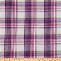 Cotton Gauze Yarn Dyed Shirting Plaid Purple