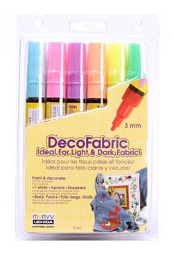 Marvy Uchida DecoFabric Markers Set Fluorescent