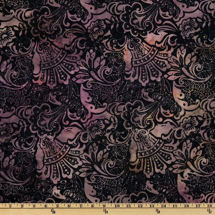 Tonga Batik Royal Velvet Large Floral Luscious Black