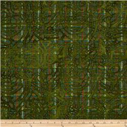 Indian Batik Plaid Scroll Green