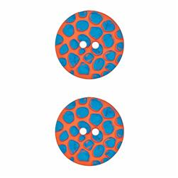 "Dill Novelty Button 1 1/8"" Turquoise Raised Dot on Orange"
